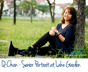 featured image-QChan-senior portrait lake garden