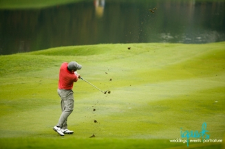 Larrazabal giving it a good whack to the 16th green